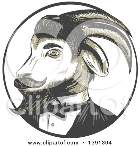 Clipart of a Sketched Retro Ram Goat in a Tuxedo, in a Circle - Royalty Free Vector Illustration by patrimonio