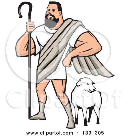 Clipart of a Cartoon Muscular Super Hero Shepherd Standing over a Sheep - Royalty Free Vector Illustration by patrimonio