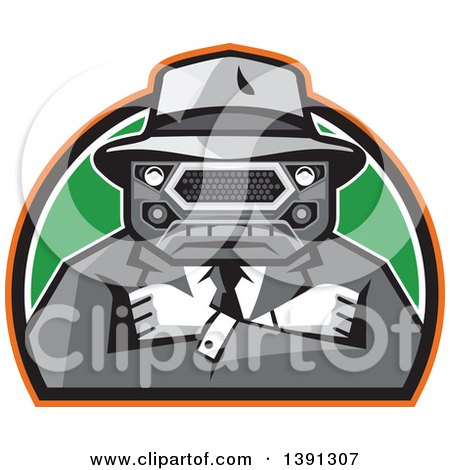 Clipart of a Retro Tough Mobster with a Car Grill Head and Folded Arms in a Half Circle - Royalty Free Vector Illustration by patrimonio