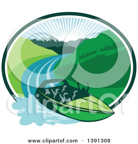 Clipart of a Retro Jet Boat Speeding down a River with a Sunrise and Mountains in the Background Within an Oval - Royalty Free Vector Illustration by patrimonio
