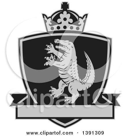 Clipart of a Retro Grayscale Alligator or Crocodile Coat of Arms Shield with a Crown and Blank Banner - Royalty Free Vector Illustration by patrimonio
