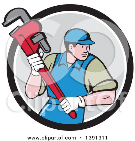 Clipart of a Retro Cartoon White Male Plumber Running and Holding a Giant Monkey Wrench, Emerging from a Black White and Gray Circle - Royalty Free Vector Illustration by patrimonio