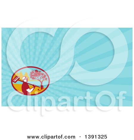Clipart of a Retro Male Cleaner Holding a Broom over His Shoulder, Pandanus Tree and Coast and Blue Rays Background or Business Card Design - Royalty Free Illustration by patrimonio