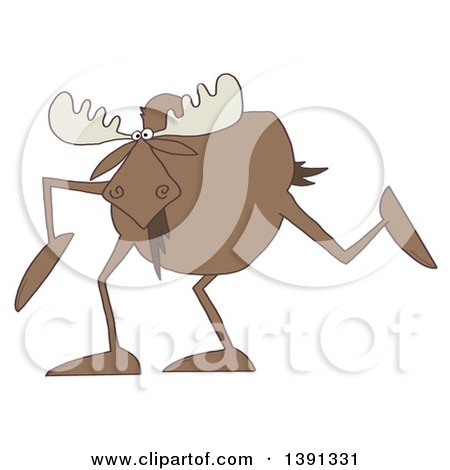 Clipart of a Cartoon Moose with Long Legs - Royalty Free Illustration by djart