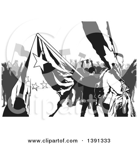 Clipart of a Grayscale Crowd of Protesters with Flags - Royalty Free Vector Illustration by dero