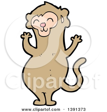 Clipart of a Cartoon Monkey - Royalty Free Vector Illustration by lineartestpilot