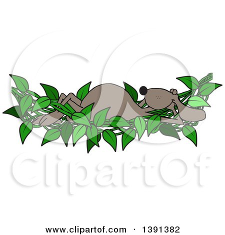 Clipart of a Cartoon Brown Dog Relaxing in a Leafy Vine Hammock - Royalty Free Vector Illustration by djart