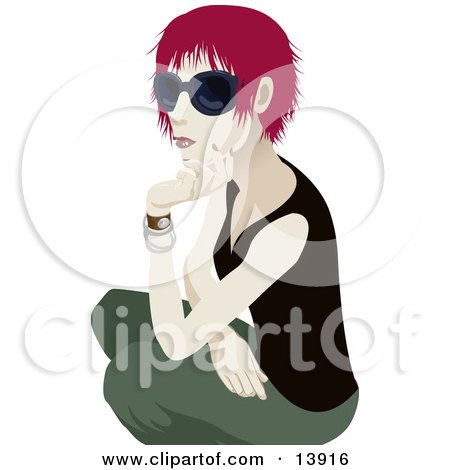 Cool Red Haired Woman Wearing Sunglasses and Crouching Clipart Illustration by AtStockIllustration