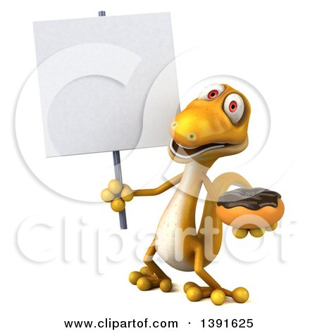 Clipart of a 3d Yellow Gecko Lizard Holding a Donut, on a White Background - Royalty Free Illustration by Julos