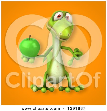 Clipart of a 3d Green Gecko Lizard Holding a Green Apple, on an Orange Background - Royalty Free Illustration by Julos