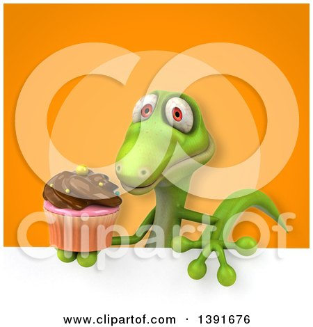 Clipart of a 3d Green Gecko Lizard Holding a Cupcake, on an Orange Background - Royalty Free Illustration by Julos