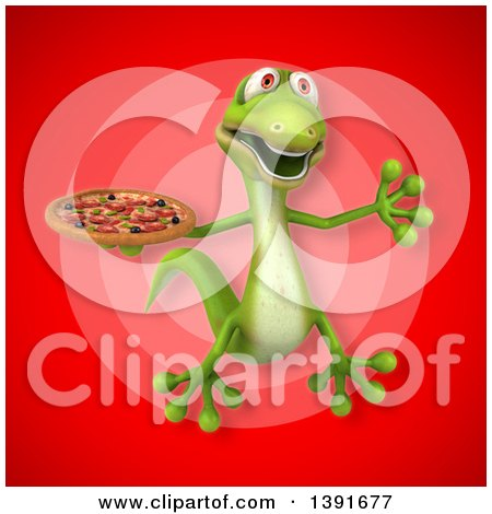 Clipart of a 3d Green Gecko Lizard Holding a Pizza, on a Red Background - Royalty Free Illustration by Julos