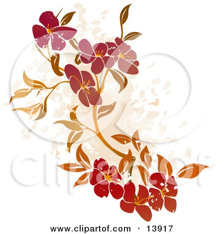 Floral Grunge Background on White Posters, Art Prints