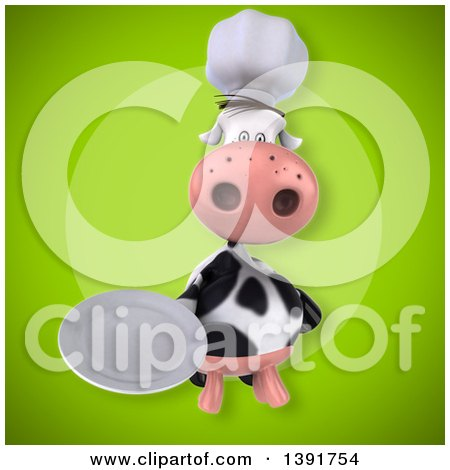 Clipart of a 3d Chef Cow, on a Green Background - Royalty Free Illustration by Julos