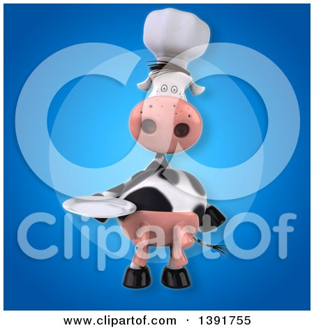 Clipart of a 3d Chef Cow, on a Blue Background - Royalty Free Illustration by Julos