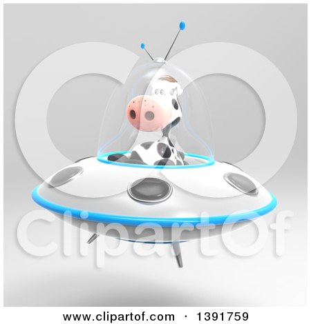 Clipart of a 3d Cow Flying a Ufo, on a Gray Background - Royalty Free Illustration by Julos