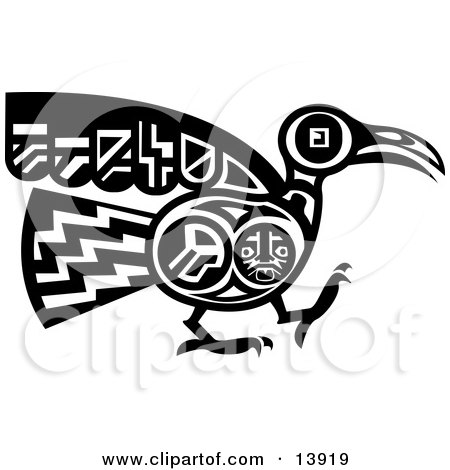 Mayan or Aztec Bird Design in Black and White Posters, Art Prints