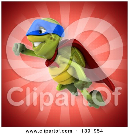 Clipart of a 3d Green Tortoise Super Hero, on a Red Background - Royalty Free Illustration by Julos