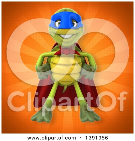 Clipart of a 3d Green Tortoise Super Hero, on an Orange Background - Royalty Free Illustration by Julos