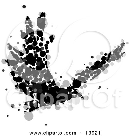 Abstract Crow or Raven Made of Black and Gray Circles in Flight Posters, Art Prints