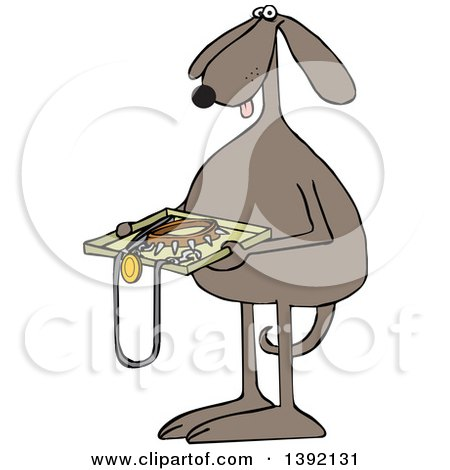 Toon Clipart of a Brown Dog Holding a Tsa Tray of Accessories - Royalty Free Vector Illustration by djart