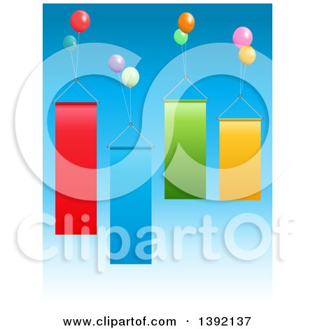 Clipart of Floating Party Balloons and Blank Banners - Royalty Free Vector Illustration by elaineitalia