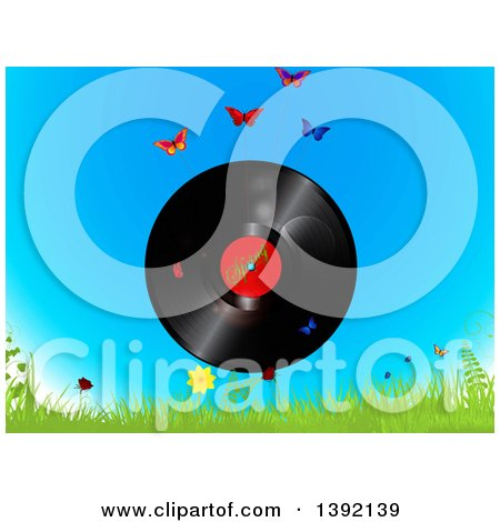 Clipart of a Vinyl Record with a Spring Time Label over Sky, Butterflies, Grass, and Flowers - Royalty Free Vector Illustration by elaineitalia