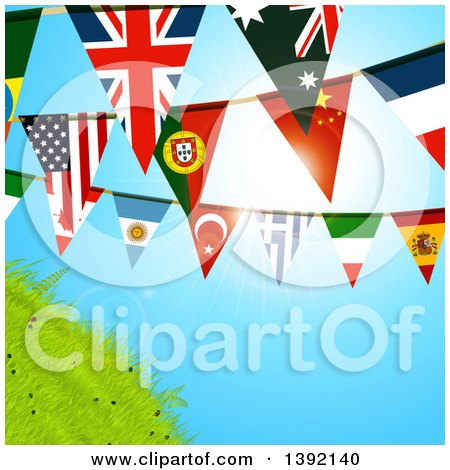 Clipart of World Flag Bunting Banners Against a Sunny Sky and Hill - Royalty Free Vector Illustration by elaineitalia