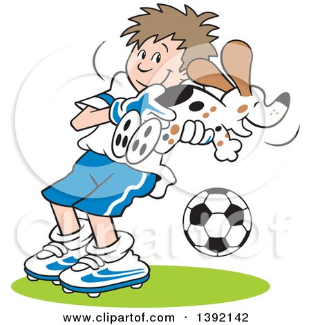 Clipart of a Cartoon Soccer Player Goalie Boy Catching a Dog - Royalty Free Vector Illustration by Johnny Sajem