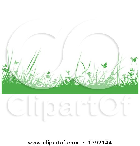 Clipart of a Border of Silhouetted Green Weeds and Butterflies - Royalty Free Vector Illustration by dero