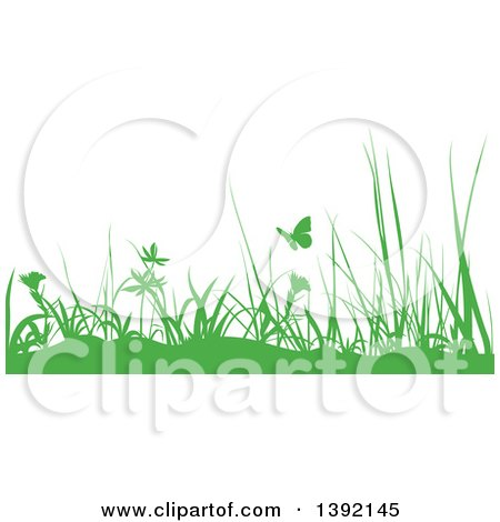 Clipart of a Border of Green Silhouetted Weeds and Butterflies - Royalty Free Vector Illustration by dero