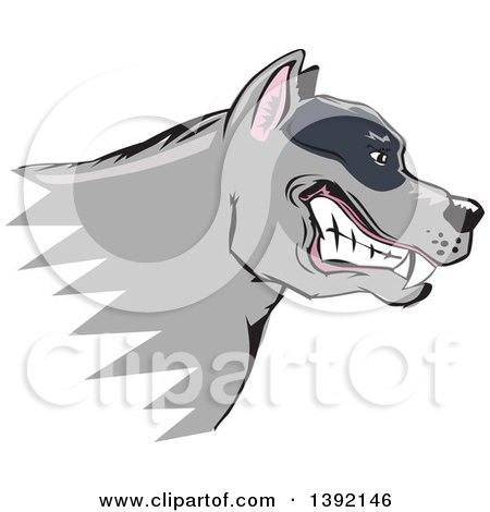 Clipart of a Tough Snarling Gray Pit Bull Dog Head in Profile - Royalty Free Vector Illustration by David Rey