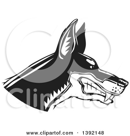 Clipart of a Woodcut Black and White Tough Snarling Doberman Pinscher Dog Head in Profile - Royalty Free Vector Illustration by David Rey