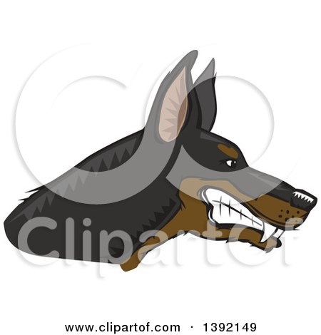 Clipart of a Woodcut Tough Snarling Doberman Pinscher Dog Head in Profile - Royalty Free Vector Illustration by David Rey