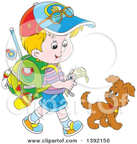 Clipart of a Cartoon Little Blond White Boy Ready to Go Explore, Walking with a Puppy Dog - Royalty Free Vector Illustration by Alex Bannykh