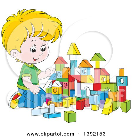 Clipart of a Cartoon Little Blond White Boy Playing with Toy Blocks - Royalty Free Vector Illustration by Alex Bannykh