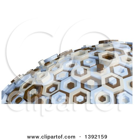 Clipart of a 3d Abstract Brown, Tan and Blue Hexagon Globe, on White - Royalty Free Illustration by KJ Pargeter