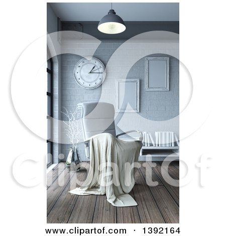 Clipart of a 3d Blanket Draped over a White Leather Chair in a Room Interior - Royalty Free Illustration by KJ Pargeter