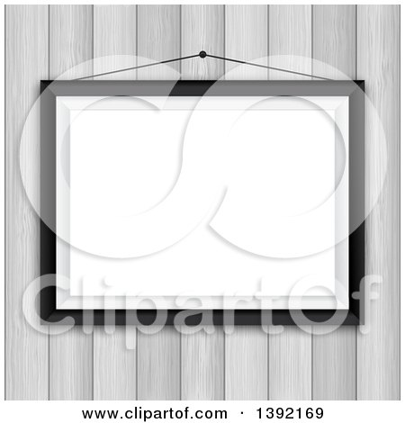 Clipart of a 3d Blank Picture Frame Hanging on a Whitewash Wood Wall - Royalty Free Vector Illustration by KJ Pargeter