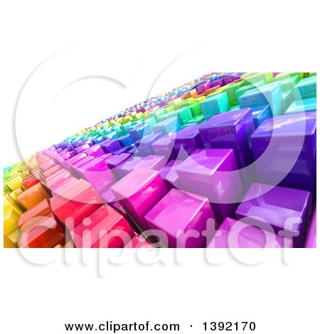 Clipart of a Tilted Background of 3d Colorful Cubes Resembling a Crowded Cityscape, on White - Royalty Free Illustration by KJ Pargeter