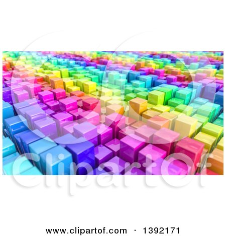 Background of 3d Colorful Cubes Resembling a Crowded Cityscape Posters, Art Prints