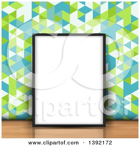Clipart of a 3d Blank Picture Frame Leaning Against Retro Geometric Wallpaper on a Wood Floor - Royalty Free Vector Illustration by KJ Pargeter
