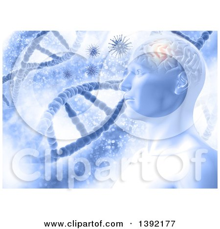 Clipart of a Male Human Head with Glowing Brain, Viruses and Dna Strands - Royalty Free Illustration by KJ Pargeter