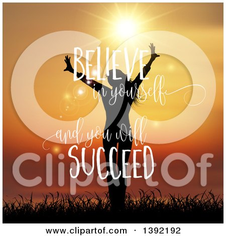 Clipart of a Silhouetted Happy Woman in Grass Against a Sunset, with Believe in Yourself and You Will Succeed Inspirational Text - Royalty Free Vector Illustration by KJ Pargeter