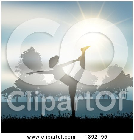 Clipart of a Fit Silhouetted Woman Doing Yoga Against a Sunset in a Park - Royalty Free Vector Illustration by KJ Pargeter