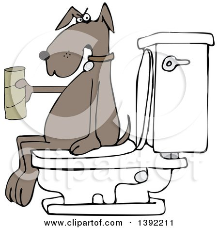 Clipart of a Cartoon Brown Dog out of Tp, Sitting on a Toilet - Royalty Free Vector Illustration by djart