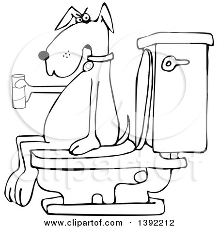 Clipart of a Cartoon Black and White Lineart Dog out of Tp, Sitting on a Toilet - Royalty Free Vector Illustration by djart