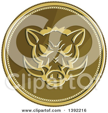 Clipart of a Retro Coin of a Wild Boar - Royalty Free Vector Illustration by patrimonio