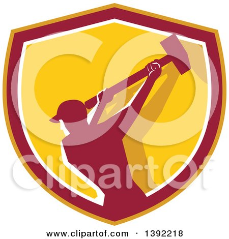 Clipart of a Retro Silhouetted Male Demolition Worker Swinging a Sledgehammer in a Yellow Red and White Shield - Royalty Free Vector Illustration by patrimonio