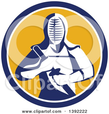 Clipart of a Retro Kendo Kendoka Swordsman with Bamboo Sword or Shinai in a Blue White and Yellow Circle - Royalty Free Vector Illustration by patrimonio